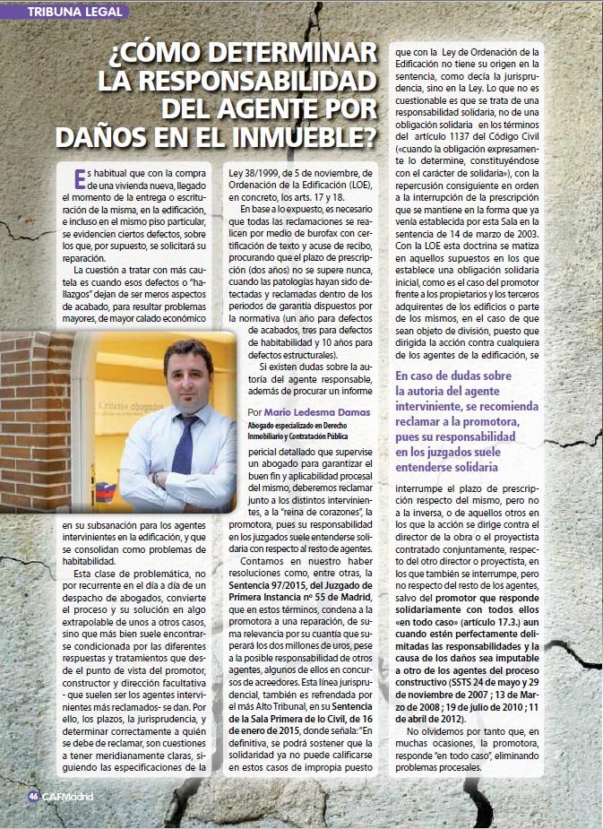 Criterio Abogados, en la Revista de Administradores de Fincas