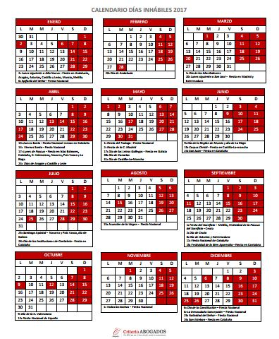 Calendario Dias Inhabiles